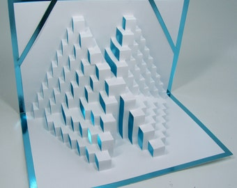 STAIRS TO SUCCESS 3D Pop Up Card Home Décor  Handmade Cut by Hand Origamic Architecture in White and Bright Shimmery Metallic Light Blue.