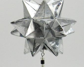 CHRISTMAS Gift Home Décor Modular 3D Origami Star Ball, HANDMADe in Shimmery Silver Paper on Silver Tone Ornament Stand OOAK