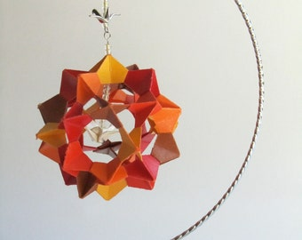 VALENTINE'S GIFT 3d Modular Origami Decoration Handmade in Yellow Orange Red Brown With Metallic White Paper Crane on Ornament Stand OOaK