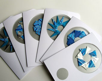 6 HANUKKAH Greeting Cards With ORIGAMI STARS Handmade with Shimmery Metallic Silver and Striped Blue on Textured Silver One Of A Kind