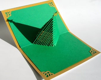 Christmas Tree 3D Pop Up Greeting Card and Decoration. Handmade Cut by Hand Origamic Architecture in Forest Green and Shimmery Bright Gold.