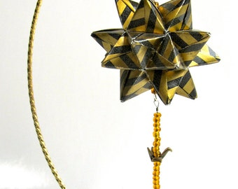 CHRISTMAS Ornament Home Décor Modular 3D Origami Star Ball, Handmade in Metallic Gold & Black Paper on Metal Gold Tone Ornament Stand OOAK