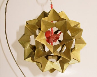 CHRISTMAS GIFT Ornament Decoration 3D Modular Origami Handmade in Metallic Gold With Red Paper Crane Hung on Ornament Stand OOaK