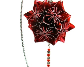 VALENTINE'S Day Gift Ornament Decoration Home Décor KUSUDAMA Modular Origami Handmade in Bright Red Paper, on Ornament Stand One Of A Kind