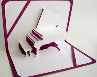GRAND PIANO 3D Pop Up GREETiNG Card Origamic Architecture Home Decoration Handmade Handcut in White and Bright Shimmery Metallic Purple