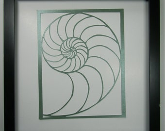 NAUTILUS Shell Silhouette Paper Cutout in Shimmery Light Green Symbolic Wall Art Home Décor ORIGINAL Design SIGNED Hand Cut Framed OOaK