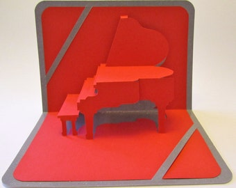 GRADUATION 3D Pop Up Grand Piano CARD Origamic Architecture Home Decoration Handmade Handcut in Red and Bright Shimmery Metallic Silver