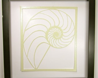 NAUTILUS Shell Silhouette Paper Cutout in Shimmery Light Yellow Symbolic Wall Art Home Décor ORIGINAL Design SIGNED Hand Cut Framed OOaK