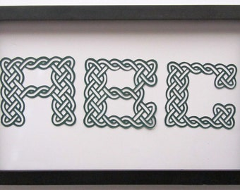 MONOGRAM of Eternity Celtic Knots Letters  In Forest Green. ENGAGEMENT or WEDDING Gift, Silhouette Paper Cuts, Wall Art Décor Handcut. OOaK