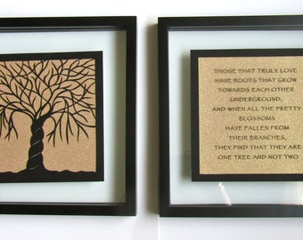 2 Trees Of Life As One 1st ANNIVERSARY Gift Black Silhouette Paper Cut ORIGINAL Design CUSTOM ORDeR Framed Signed Symbolic Art Handcut  OoAK