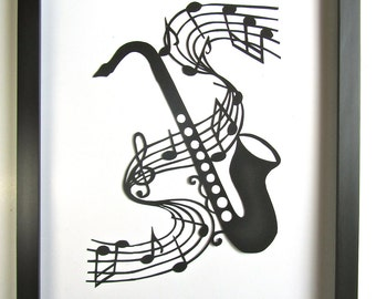 Saxophone and Music Notes  - GRADUATION Gift Black Silhouette Paper Cut 4 Music Lovers Wall and Home Décor Handmade Framed One Of A Kind