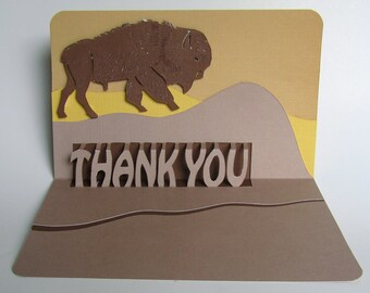 BISON THANK YOU Pop Up Card Handmade Original Design in Earth tones of Brown Beige Sand Yellow. Custom Order.  One Of A Kind