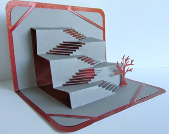 STAIRS TO SUCCESS 3D Pop Up Greeting Card Home Decor in Gray and Metallic Shimmery Red Origamic Architecture. One of a Kind