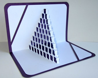 3D Pop Up STAIRS 2 LOVE w/Light Shines Through Origamic Architecture of Geometric Intricate Cuts in Purple and White OoAK