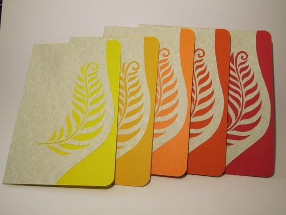 Greeting Cards, Event Invitations Handmade with Original Silhouette Cutout of Fern Leaves in Warm Colors of Yellow Orang  Red OOAK