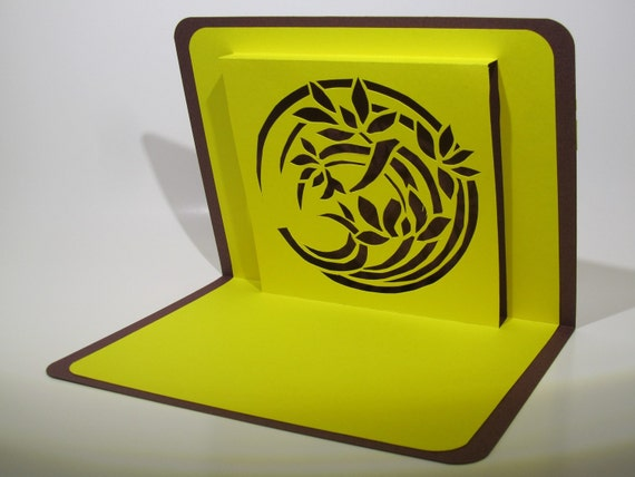 FATHERS DAY Card 3D Pop Up Bamboo SILHOUETTE Cutout Original Design Handmade in Bright Yellow and Brown One Of A Kind