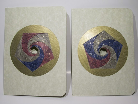 VALENTINE Greeting Cards Handmade with Spectacular Pentagon Shaped Iris Folding in Shades of Silver Blue and Maroon Gold Embossed Paper OOAK