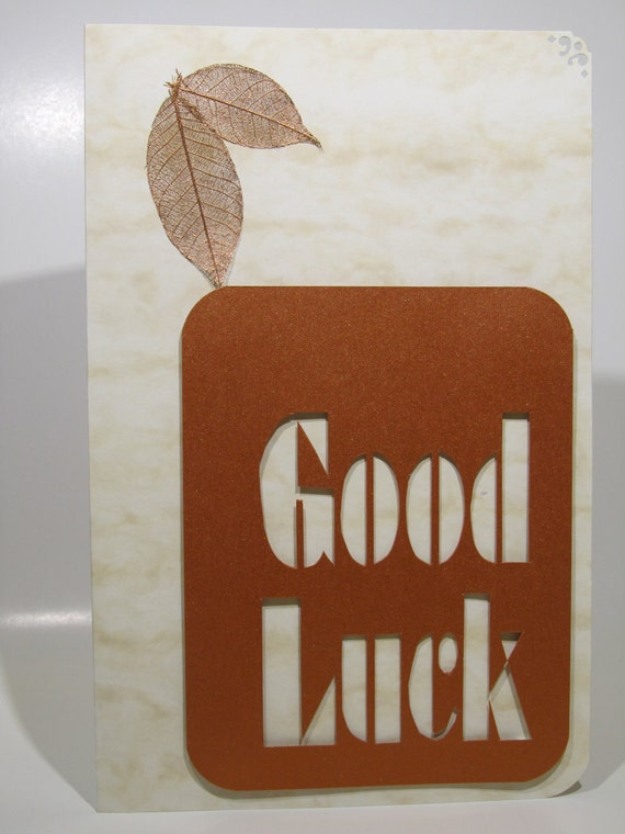 GOOD LUCK 2 Greeting Cards Original Handmade Design Silhouette Cutout in Ivory Marble and Copper Tone for All Occasions OOAK