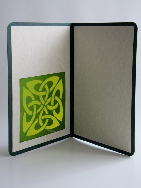 St PATRICK Day Eternity CELTIC Knot Greeting Card Silhouette Cutout in GREEN & Ivory Original Design Handmade Cut Out One Of A Kind