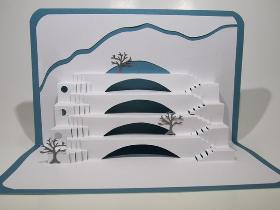 GRADUATION STEPS To SUCCESS Pop Up 3D Card Home Décor Handmade Origamic Architecture in White and Sky Blue ORIGINaL DeSIGN Signed By Me OOaK
