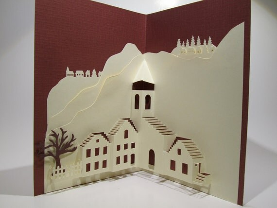 Pop-Up Origamic Architecture Handmade Card Depicts a  Mediterranean Landscape in Brown and Ivory Home Décor OOAK