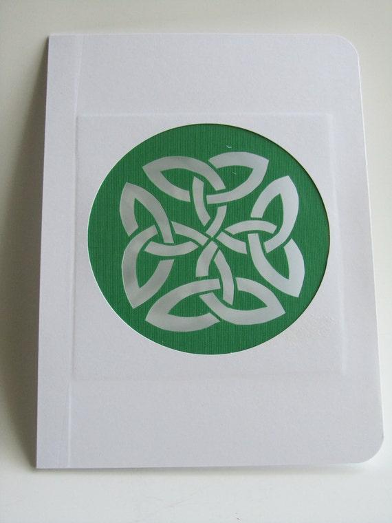Eternity Circular Celtic Knot Silhouette Cutout in White & Green Original Handmade Cut Out OOAK