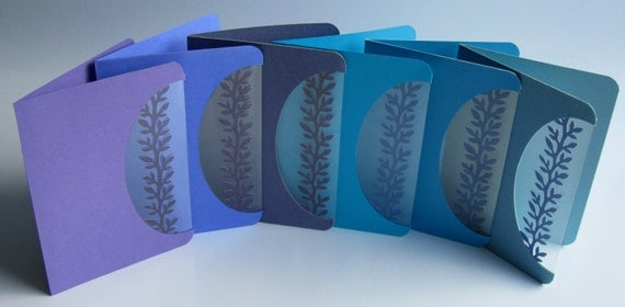 Greeting Cards 6 x Event Invitations Handmade with a Silhouette Cutout Insert of a Branch w/Leaves in Blue and Purple Shades OOAK