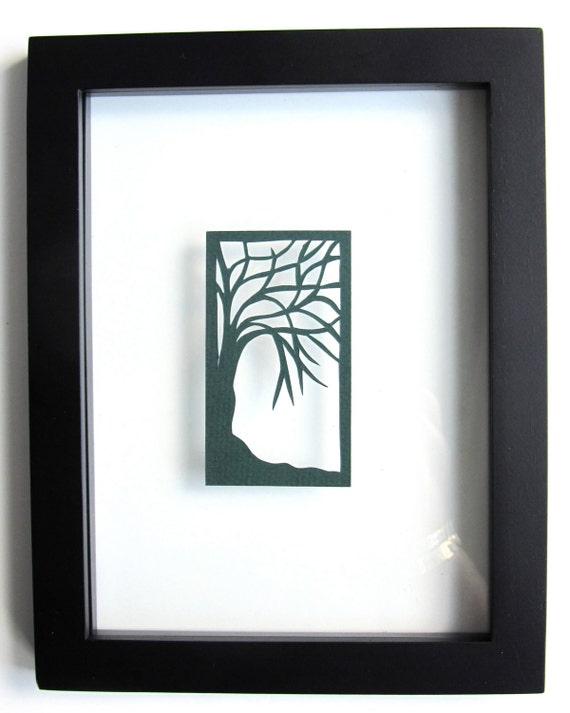 ACEO Tree Of Life Forest Green Silhouette Cutout Original Design Hand cut RESERVED for Mike