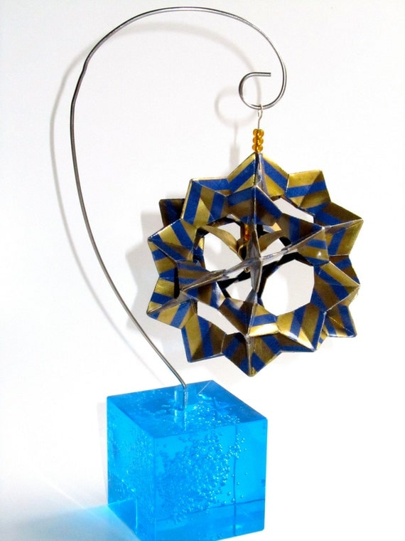 Ornament Home Dcor 3D Modular Origami Made Of Gold With Blue