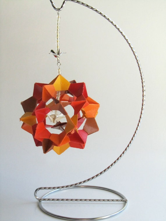 MOTHERS' DAY GIFT 3d Modular Origami Decoration Handmade in Yellow Orange Red Brown With Metallic White Paper Crane on Ornament Stand OOaK