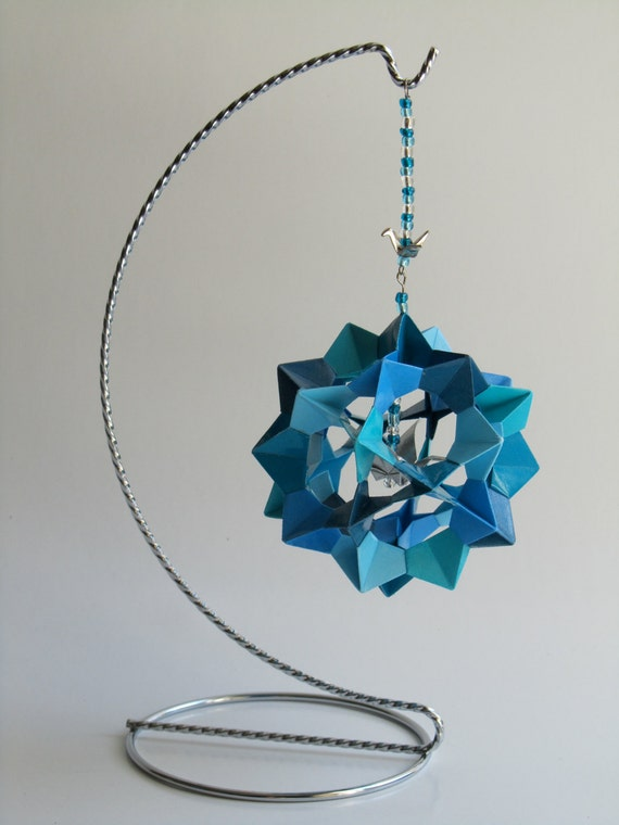 Ornament Decoration Home Décor 3D Modular Origami Handmade in Blue Shades on Silver Metal Ornament Stand One Of A Kind OOAK