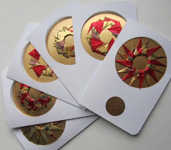 Christmas Cards With Detachable ORIGAMI ORNAMENTS, Handmade as Stars in Shimmery Metallic Gold and Red on Textured Gold One Of A Kind