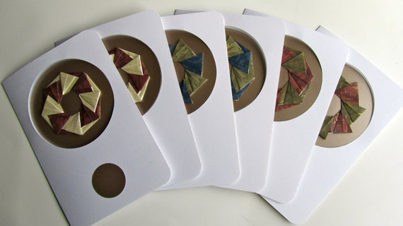 6 Christmas Cards Contain DETACHABLE ORNAMENTS Handmade as Stars/ Wreaths in Shimmery White, Burgundy, Blue and Grey Embossed with Gold OOAK