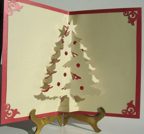 Christmas Tree Pop Up Up Greeting Card Home Décor 3D Handmade Origamic Architecture in Shimmery Metallic Sand Yellow and Bright Red.