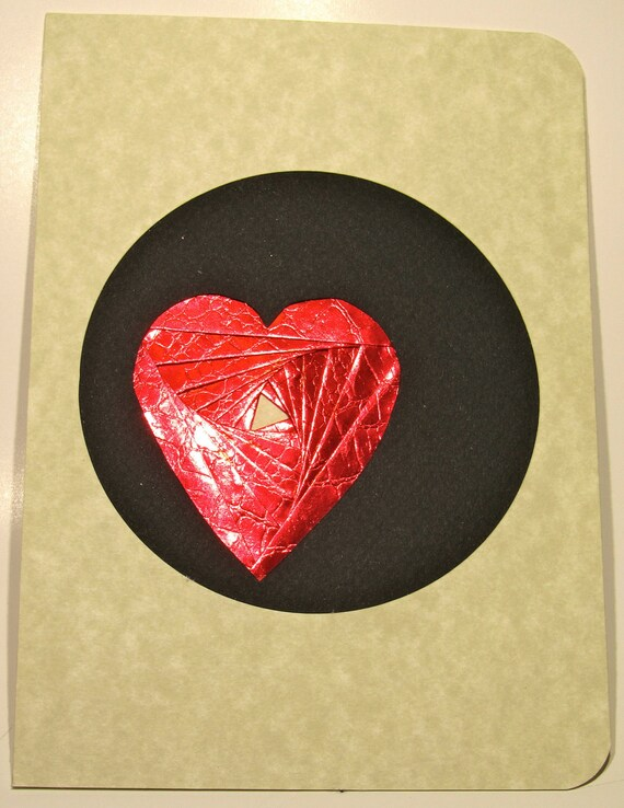 VALENTINES DAY LOVE Greeting Card Artistically Handmade with Spectacular Heart in Shimmery Metallic Red in Black on Ivory Marble OOaK
