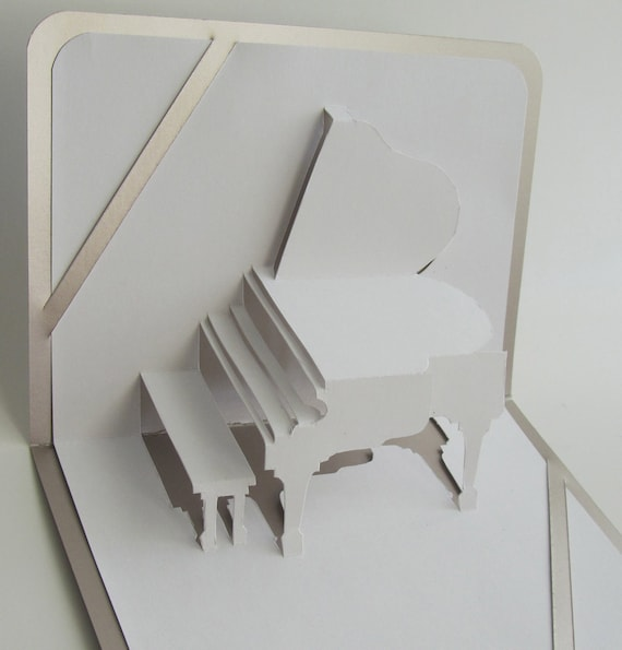GRAND PIANO 3D Pop Up GREETiNG Card Home Decoration Origamic Architecture Handmade in White and Bright Shimmery Metallic Silver Shade