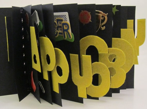Happy 6th Birthday BOOK CARD in Yellow & Black SOCCER Theme ORIGINaL CUStOM ORDeR Handmade Artistic Personalized Home Decor One Of A Kind