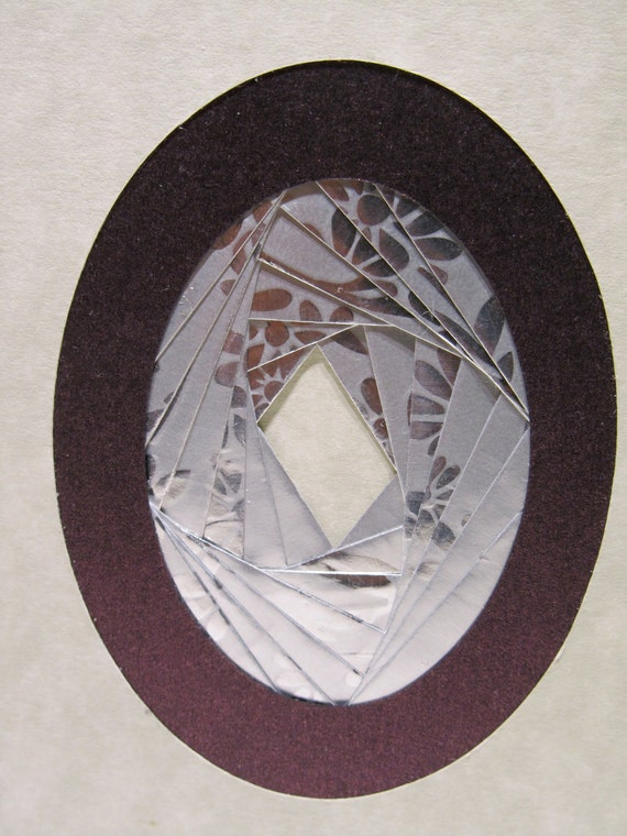 MOTHERS DAY Greeting Card Artistically Handmade with Spectacular Oval in Shimmery Metallic Silver in Burgundy on Ivory Marble OOAK