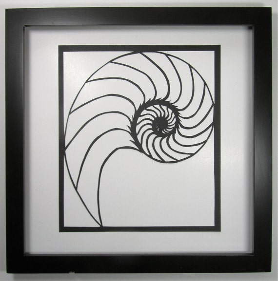 NAUTILUS Shell Silhouette Paper Cutout Handcut in Black Symbolic Wall Art Home Décor ORIGINAL Design SIGNED Hand Cut Framed One Of A Kind