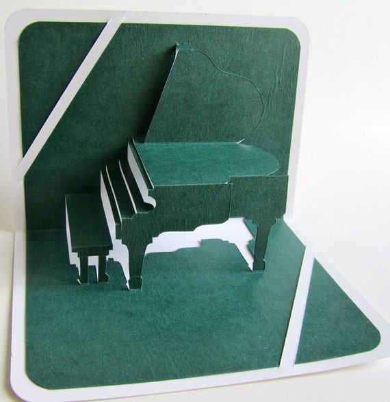 GRAND PIANO 3D Pop Up Card Origamic Architecture Home Decoration Handmade Handcut in Forest Green and White