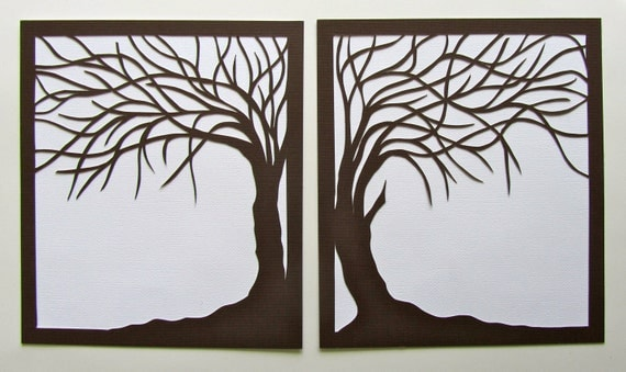 2 Trees Of Life Silhouette Paper Cut In Brown Over White