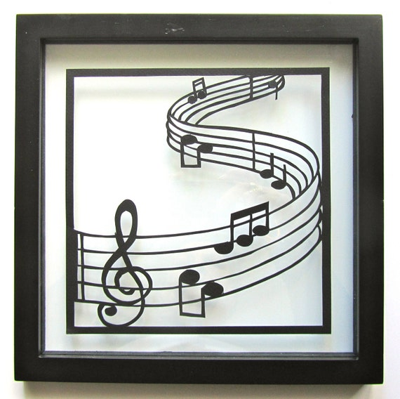 CHRISTMAS gift  LOVE Notes Black Paper Cut Wall and Home Décor ORIGINAL Design 4 Music Lovers Handmade SIGNeD Framed One Of A Kind