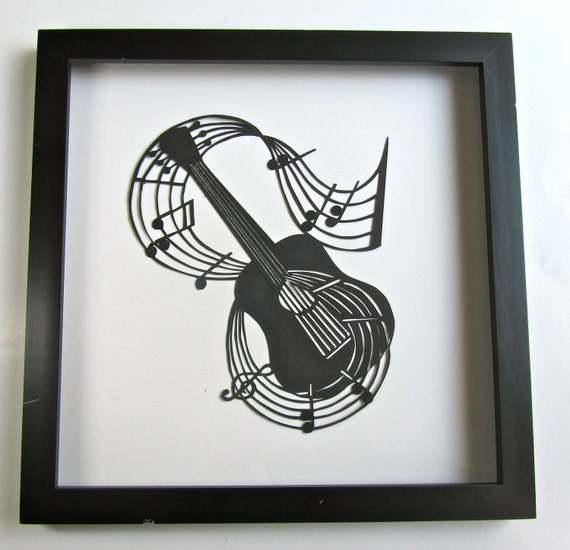 GUITAR and Music Notes for MUSIC LOVERS Wall and Home Décor Silhouette Paper Cutout Handmade Framed One Of A Kind