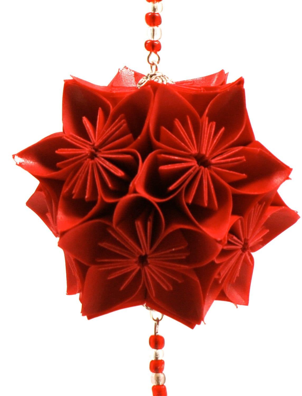 Poinsettia Ornament Holiday Decoration Home D 233 Cor Kusudama