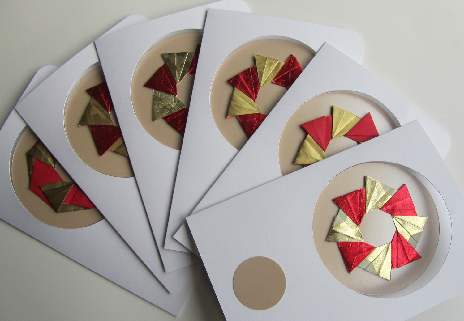 6 CHRISTMAS Cards With Detachable ORIGAMI ORNAMENTS, Handmade as Stars in Shimmery Metallic Gold and Red on Textured Gold One Of A Kind