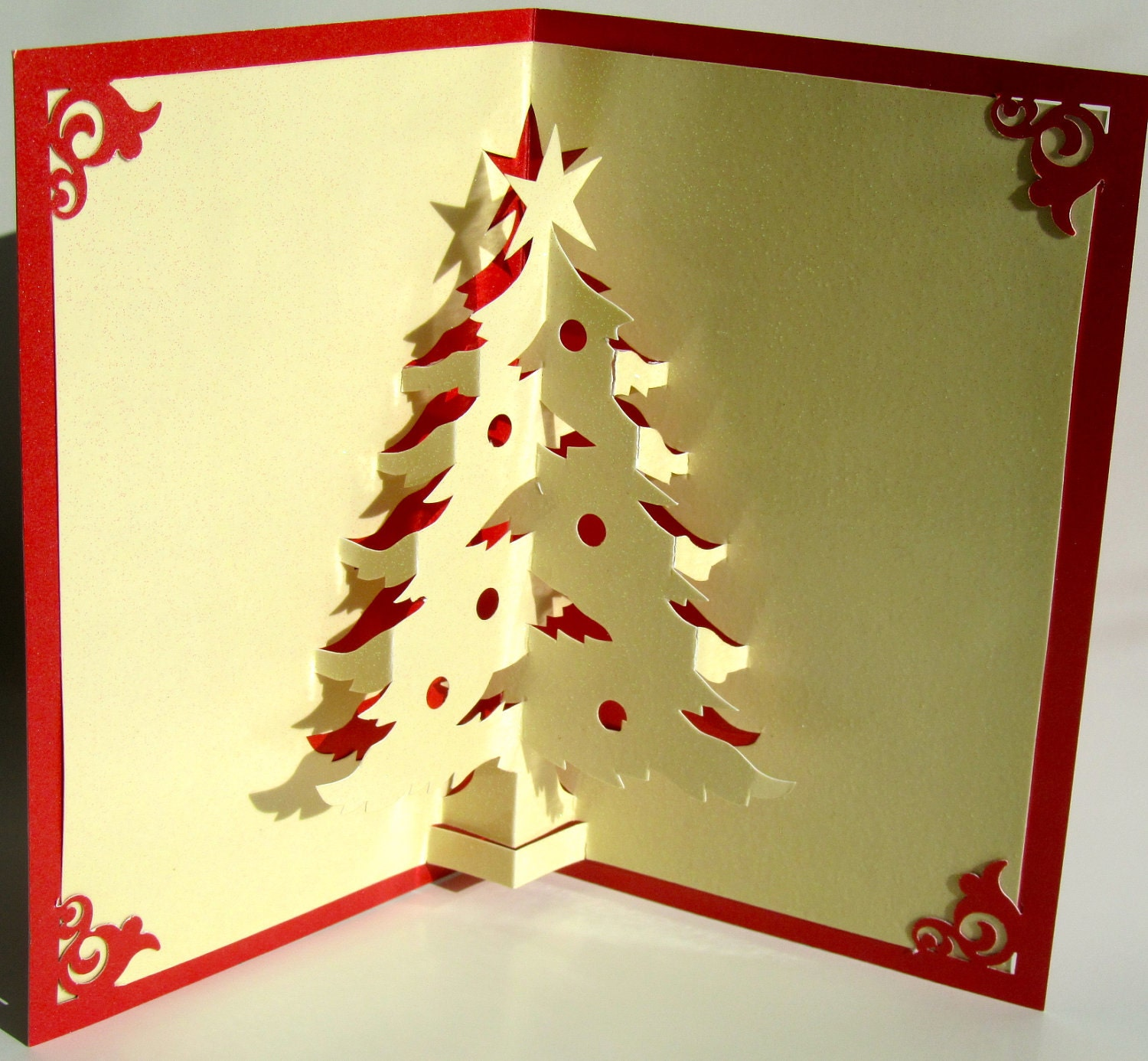 christmas tree pop up up greeting card home d cor 3d handmade. Black Bedroom Furniture Sets. Home Design Ideas