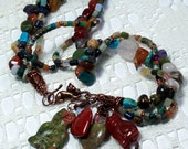 Cat charm necklace, gemstones, boho, copper, torsade