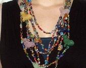 Cat necklace, gemstone cats, colorful, boho chic, multi-strand