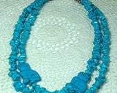 Double-strand Turquoise cat Necklace with 2 Turquoise cats