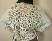 Pale Mint Green Eighties Blazer- Sheer Crochet Back, Rosette accents